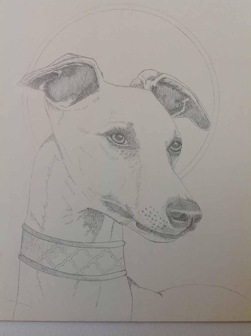 Marque Todd - Greyhound in Silverpoint